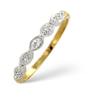 Half Eternity Ring 0.02CT Diamond 9K Yellow Gold