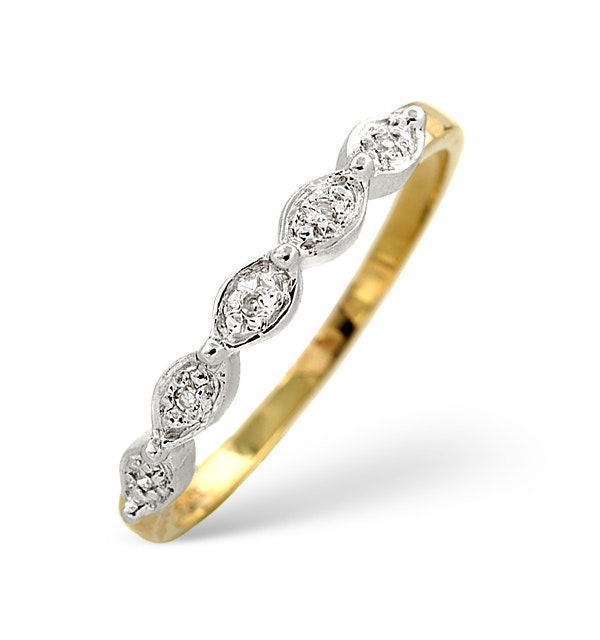 Half Eternity Ring 0.02CT Diamond 9K Yellow Gold - image 1