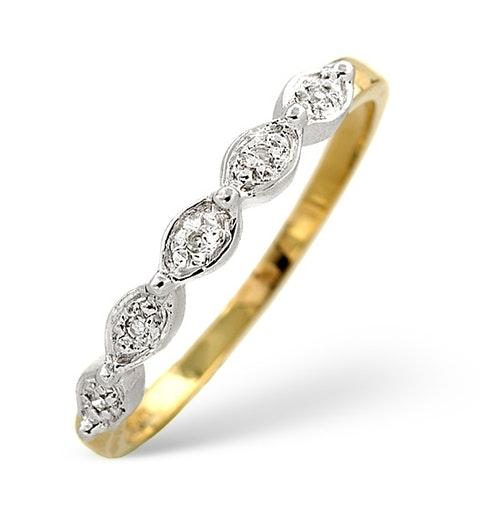 Diamond Wedding Ring 0.02CT Diamond 9K Yellow Gold - image 1