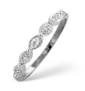 Half Eternity Ring 0.02CT Diamond 9K White Gold
