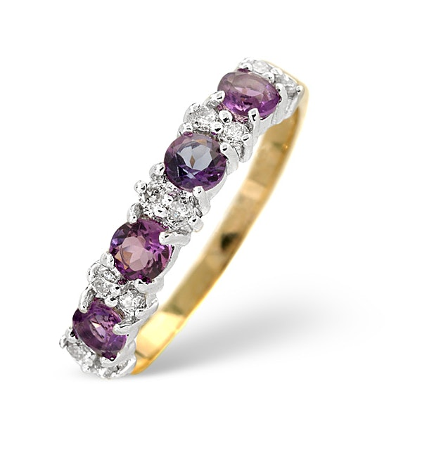 Amethyst 0.48ct And Diamond 9K Gold Ring - image 1
