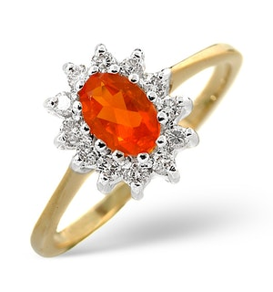 Fire Opal 6 x 4mm And Diamond 9K Yellow Gold Ring