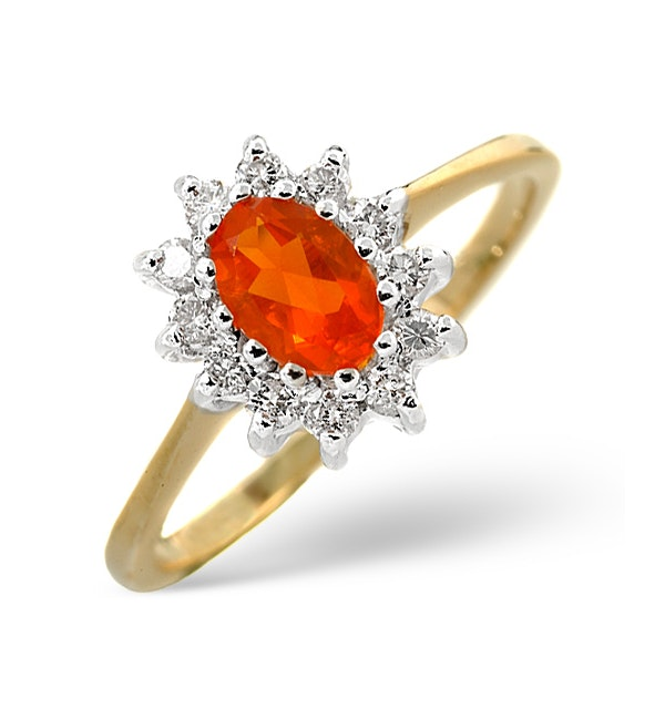 Fire Opal 6 x 4mm And Diamond 9K Yellow Gold Ring - image 1