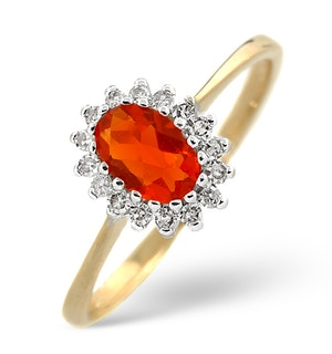Fire Opal 6 x 4mm And Diamond 9K Yellow Gold Ring  A3520