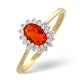 Fire Opal 6 x 4mm And Diamond 9K Yellow Gold Ring  A3520 - image 1
