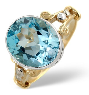 Blue Topaz 5.75CT 9K Yellow Gold Ring