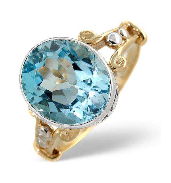 Blue Topaz 5.75CT 9K Yellow Gold Ring - image 1