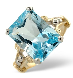 Blue Topaz 9.35CT 9K Yellow Gold Ring