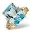 Blue Topaz 9.35CT 9K Yellow Gold Ring - image 1