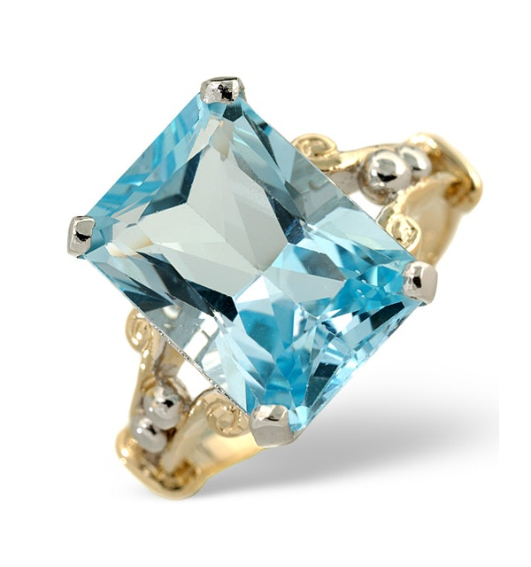 Blue Topaz 9.35CT 9K Yellow Gold Ring - image 1