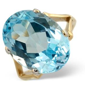 Blue Topaz 11.70CT 9K Yellow Gold Ring