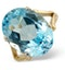 Blue Topaz 11.70CT 9K Yellow Gold Ring - image 1