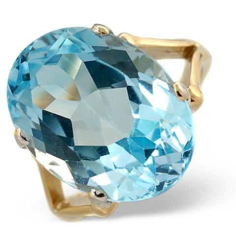 Blue Topaz 11.70CT 9K Yellow Gold Ring - image 1