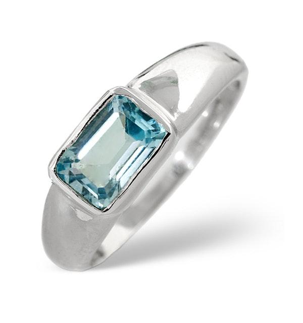 Sky Blue Topaz 1.25CT 9K White Gold Ring - image 1