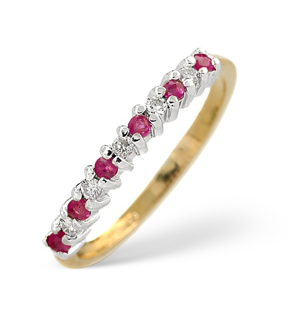 Ruby 0.16ct And Diamond 9K Gold Ring - image 1