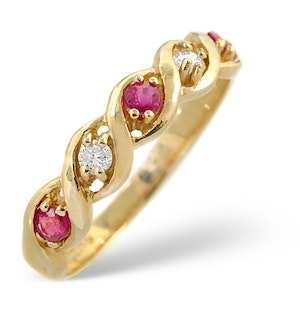 Ruby 0.20ct And Diamond 18K Gold Ring