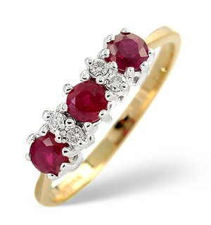 Ruby 0.58ct And Diamond 9K Gold Ring