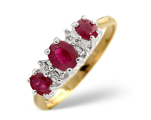 3 Stone Ruby Rings