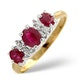 Ruby 0.85ct And Diamond 9K Gold Ring - image 1