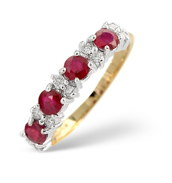 Ruby 0.78ct And Diamond 9K Gold Ring - image 1