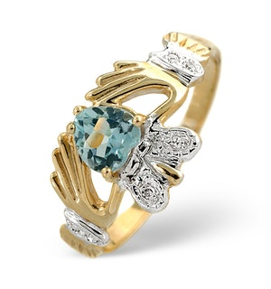 Blue Topaz 5mm And Diamond 9K Gold Claddagh Ring