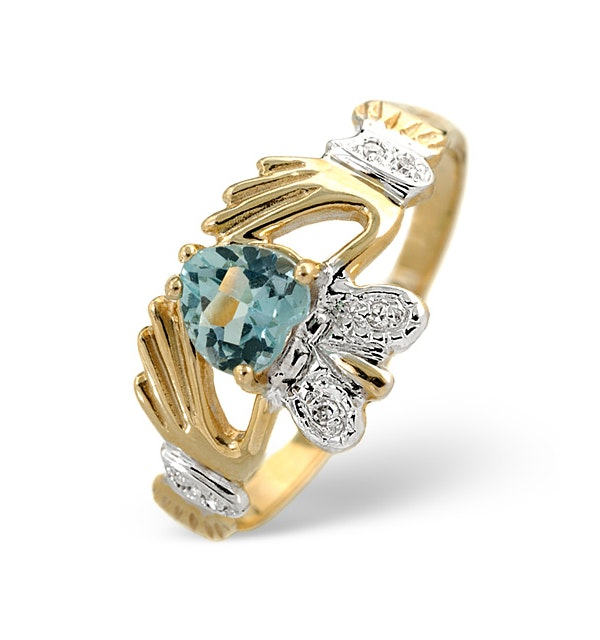 Blue Topaz 5mm And Diamond 9K Gold Claddagh Ring - image 1