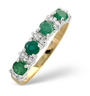 Emerald 0.60ct And Diamond 9K Gold Ring