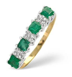 Emerald 0.65ct And Diamond 9K Gold Ring  A3348