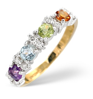 Multi Gem Stone And Diamond 9K Gold Ring  A4299