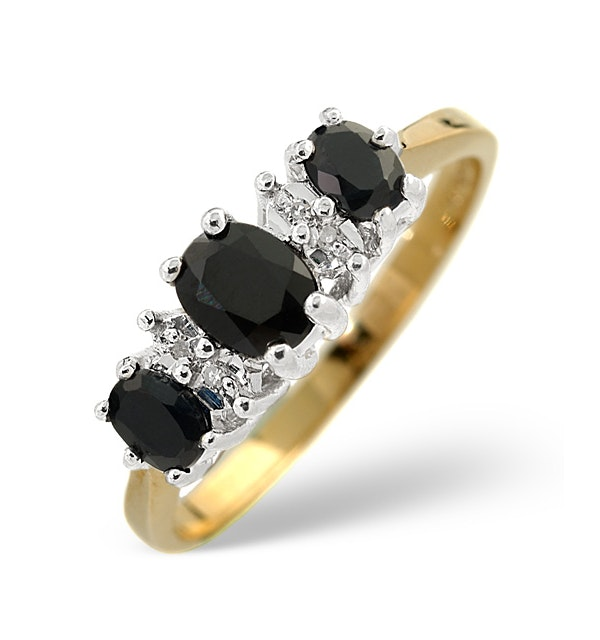 Sapphire 1.00ct And Diamond 9K Gold Ring - image 1
