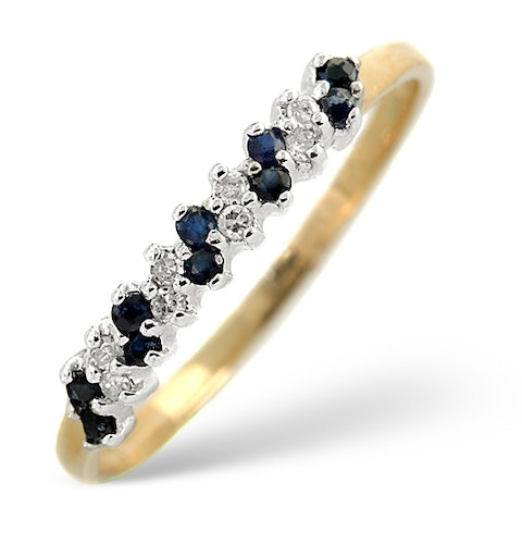 Sapphire 0.18ct And Diamond 9K Gold Ring - image 1