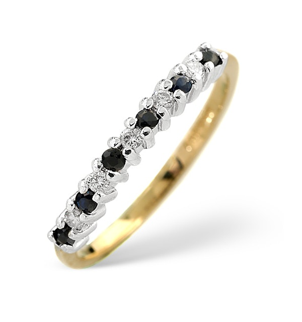 Sapphire 0.10ct And Diamond 9K Gold Ring - image 1