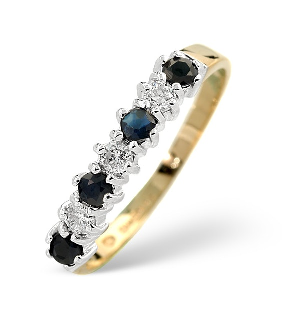 Sapphire 0.30ct And Diamond 9K Gold Ring - image 1