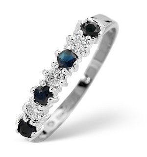 Sapphire 0.30ct And Diamond 9K White Gold Ring