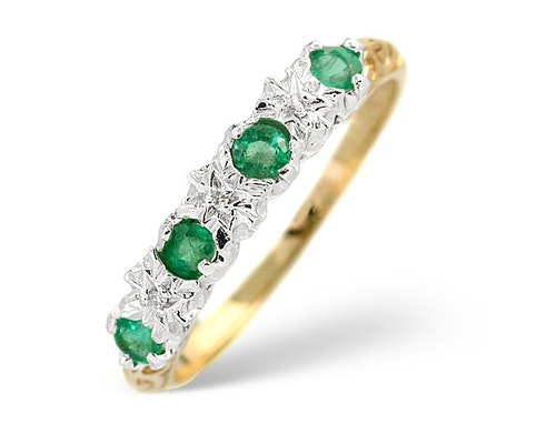 emerald yellow gold eternity rings