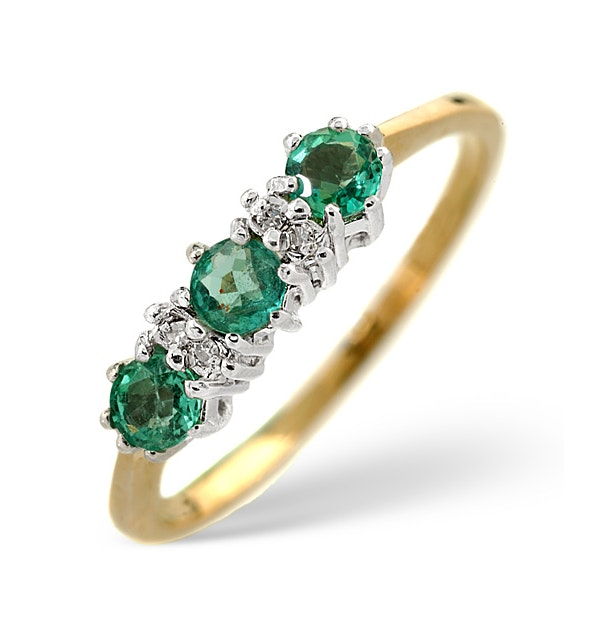 Emerald 0.45ct And Diamond 9K Gold Ring - image 1