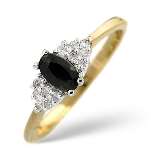 Sapphire 5 x 3mm And Diamond 9K Gold Ring  A3227 - image 1