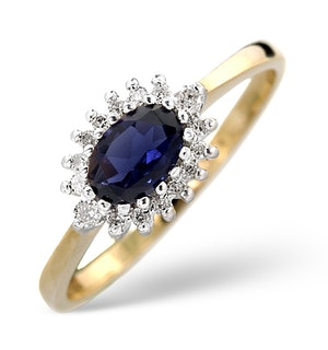 Sapphire 6 x 4mm And Diamond Ring 9K Yellow Gold