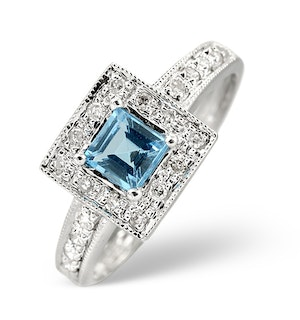 Blue Topaz 0.45CT And Diamond 9K White Gold Ring