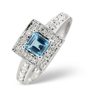 Blue Topaz 0.45CT And Diamond 9K White Gold Ring