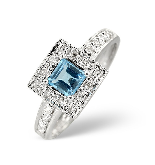Blue Topaz 0.45CT And Diamond 9K White Gold Ring - image 1