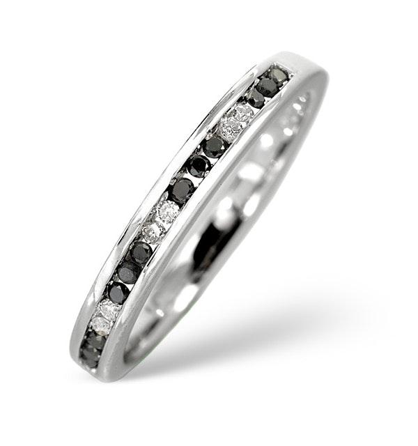 Black Diamond 0.10CT And Diamond 9K White Gold Ring - image 1