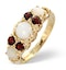 Opal 0.66CT And Garnet 9K Yellow Gold Ring - image 1