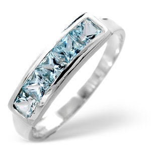 Sky Blue Topaz 0.90CT 9K White Gold Ring