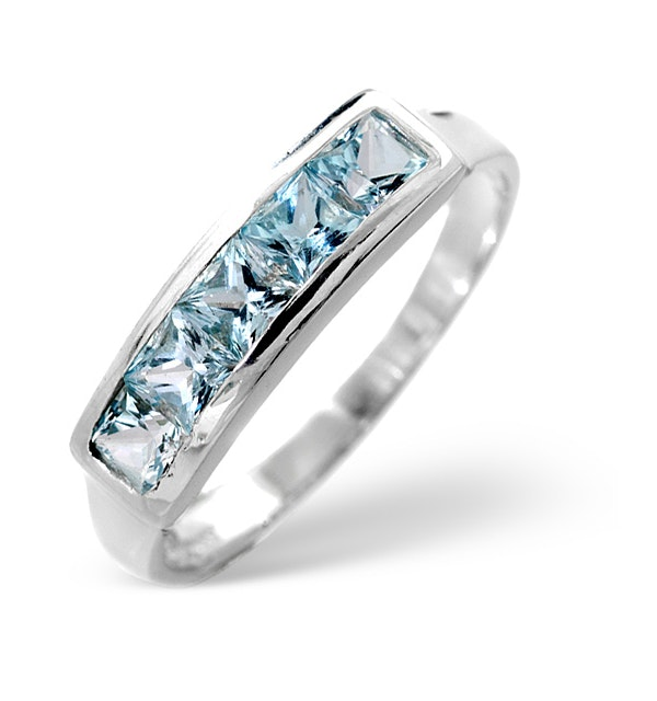 Sky Blue Topaz 0.90CT 9K White Gold Ring - image 1
