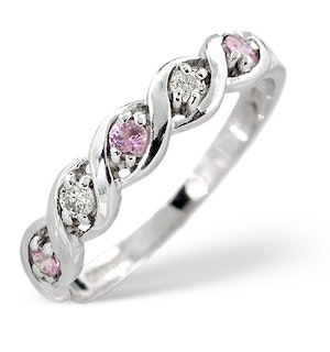 18K White Gold Diamond and Pink Sapphire Ring 0.08ct
