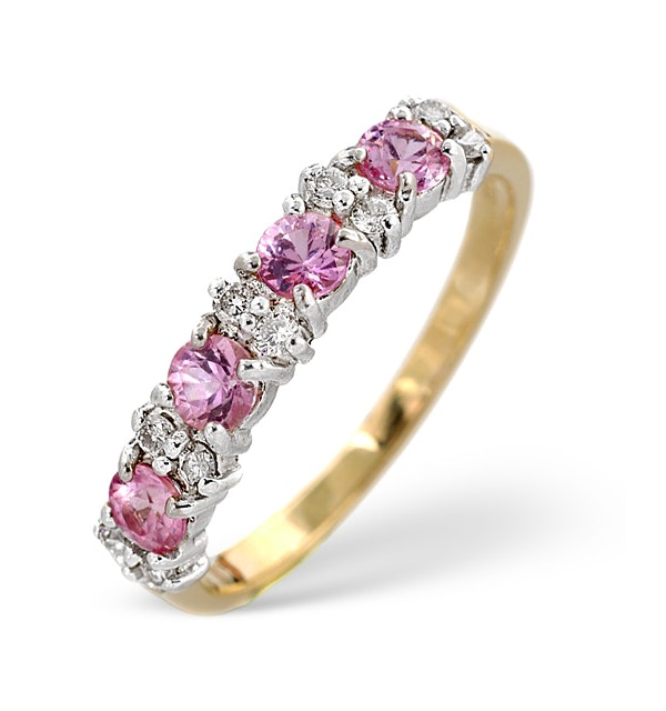 Pink Sapphire and 0.15ct Diamond Ring 9K Yellow Gold - image 1
