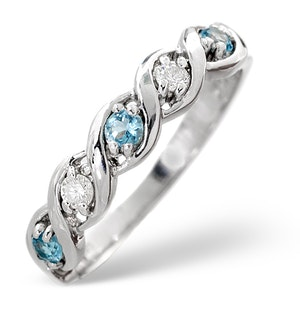 Blue Topaz 0.18CT And Diamond 9K White Gold Ring