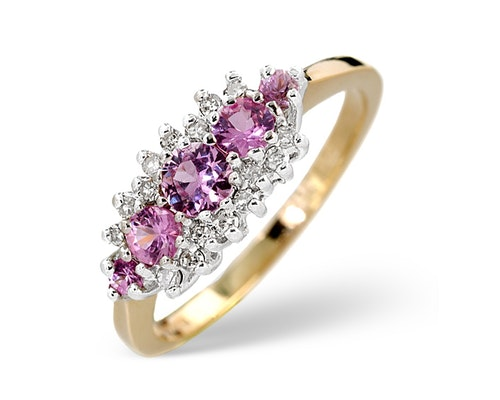 Yellow Gold Pink Sapphire Rings