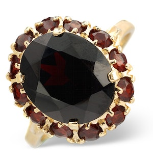 Garnet 12 x 10mm 9K Yellow Gold Ring